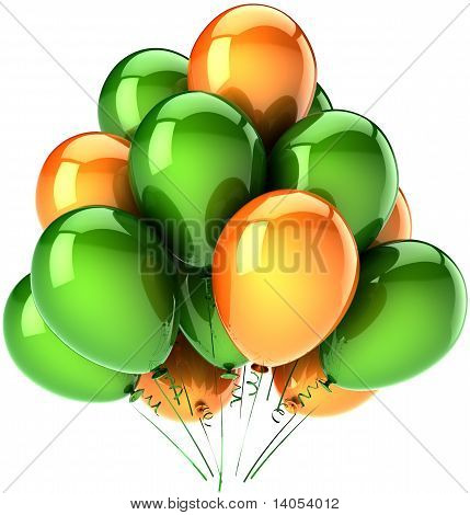 Party balloons green and orange