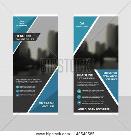 Blue black Business Roll Up Banner flat design template Abstract Geometric banner template Vector illustration set abstract presentation brochure flyer template vertical template vector