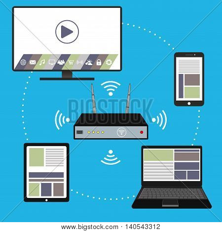 Smart device- smartphone laptop TVtablet pc and wi fi router flat design vector illustration