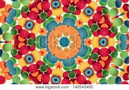 Unique kaleidoscope design from colorful sugar confetti