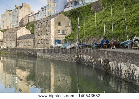 An image of the beautiful Tenby Quayside in early evening sunshine Tenby Pembrokeshire South Wales UK