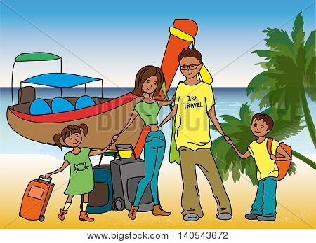 Family arrived on holiday on  on the beach, longtail boat on background, vector