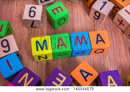 Mama Word Written With Colorful Cubes With Letters.