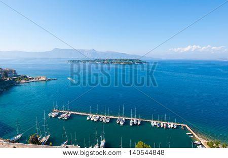 Panorama of Kerkyra port from the Old Fortress. Corfu island Greece.