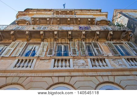 CORFU-AUGUST 22: Facade of the building in Venetian architecture in Kerkyra on August 22 2014 on the Corfu island Greece.