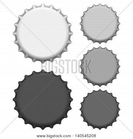 Vector  illustration of bottle caps. Beer bottle cap top view