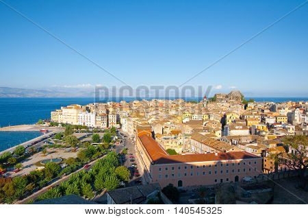 CORFU-AUGUST 22: Panoramic view of Corfu cityscape from the New Fortress on August 22 2014 on Corfu island Greece.