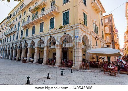 CORFU-AUGUST 22: Venetian Kerkyra city with the row of local restaurants on August 22 2014 on Corfu island Greece.