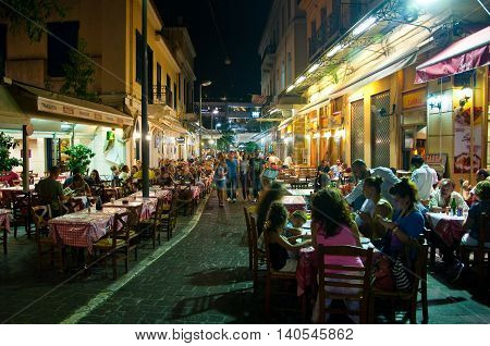 ATHENS-AUGUST 22: Street with various restaurants and bars on Plaka area near to Monastiraki Square on August 22 2014 in Athens.