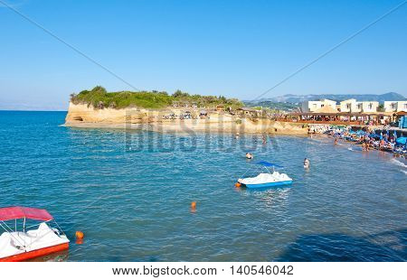 Sidary sandy beach with coves of the Canal D'Amou. Corfu island Greece.