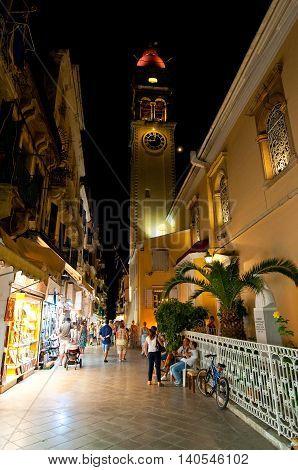 CORFU-AUGUST 27: The Saint Spyridon Church at night on August 272014 on Corfu island Greece. The Saint Spyridon Church is a Greek Orthodox church located in Corfu Greece.
