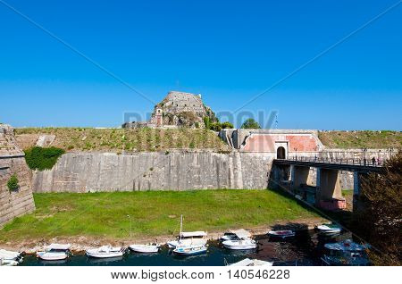 The Old Fortress and the Gulf of Kerkyra from the island of Corfu. Greece.