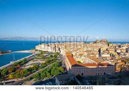 CORFU-AUGUST 22: Panoramic view of Corfu town from the New Fortress built on the hill of St. Mark on August 22 2014 on Corfu island Greece.