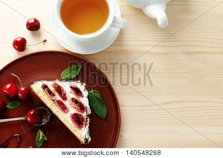 Monastic hut with tea on wooden table