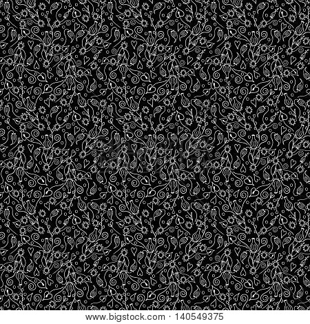 floral black seamless pattern with abstract white flowers. vector