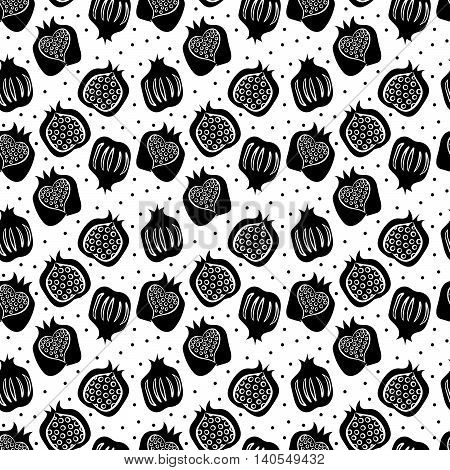 seamless pattern with many black pomegranate . vector