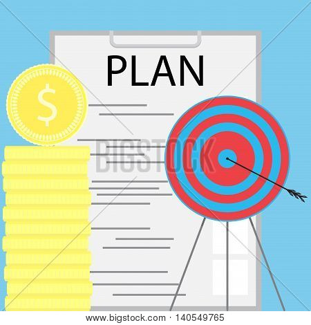 Successful money planning. Finance planning and achieving the goal. Vector illustration