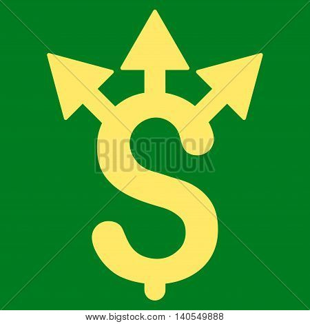 Expences icon. Vector style is flat iconic symbol with rounded angles, yellow color, green background.