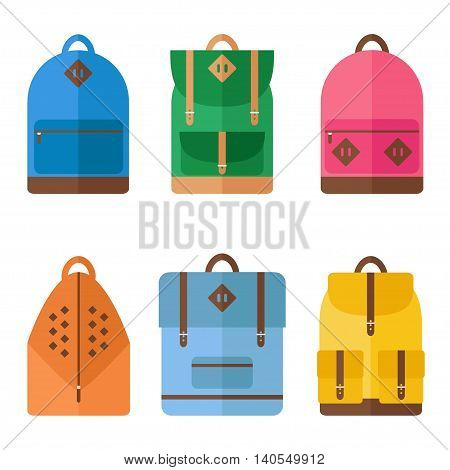 Backpack icons on white background. Backpack for school, sport, travel. Flat style vector illustration.