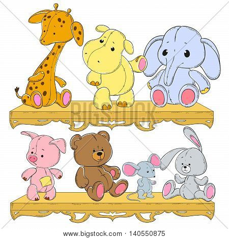 Children's toys on the shelf. Giraffe hippopotamus elephant pig hedgehog hare bear. Plush animals vector