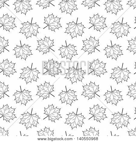 white seamless pattern with white Maple Leaf. vector