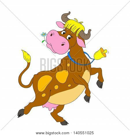 Cartoon characters dancing cow. Funny cow with a bell. Vector isolated on white background.