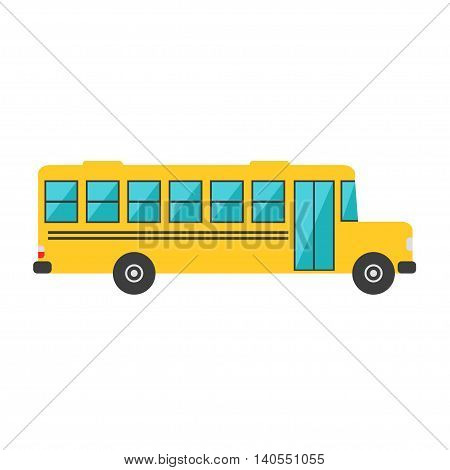 School bus isolated icon on white background. Big school bus. Flat style vector illustration.