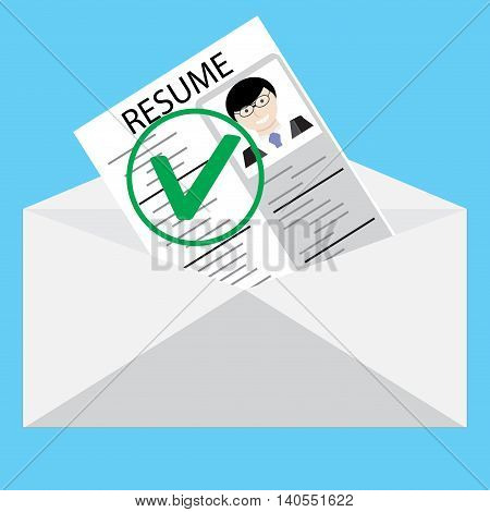 Approved resume. Letter vector work. Cv and resume writing curriculum vitae vector illustration