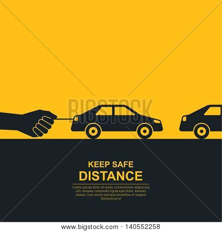 The hand constraining car speed symbolizes increase in distance between vehicles reduction of speed. The concept of safety and fail-safety on roads observance of traffic regulations. A vector illustration in flat style.