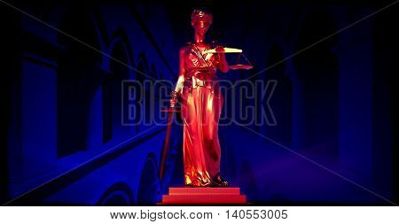 Themis in court 3d rendering