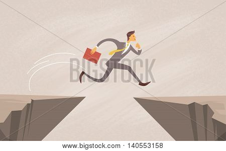 Businessman Jump Over Cliff Gap Mountain Flat Vector Illustration
