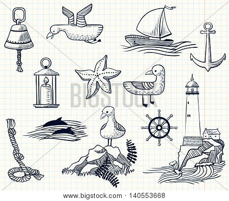 Vector set with sketchy nautical objects on white
