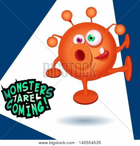 Monsters are coming cartoon vector illustration. Orange rounded cute alien crawling on the wall.