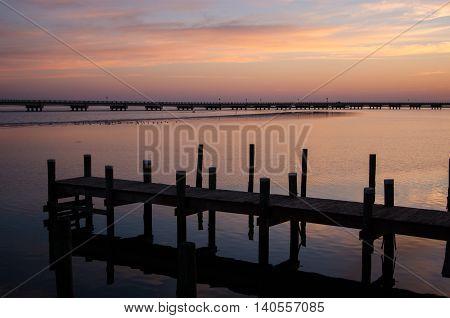 Dock and bridge on Chincoteague Island Virginia
