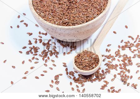 Closeup Of Flaxseed Isolated On White