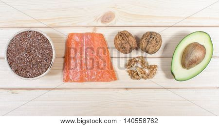 Sources of omega 3 fatty acids. CloseUp.