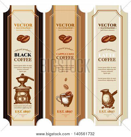 Coffee label design templates retro vintage vector