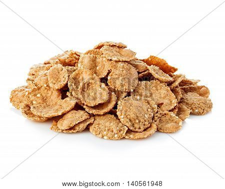Flakes, Breakfast Cereal Isolated On White Background. Healthy Breakfast.