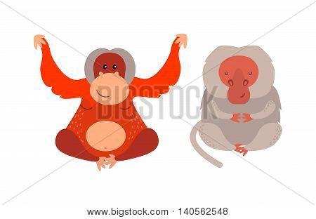 Cartoon monkey vector illustration. Monkey animal and jungle cartoon wild life. Monkey cute types cute primate isolated. Monkey zoo jumping chimpanzee mammal.
