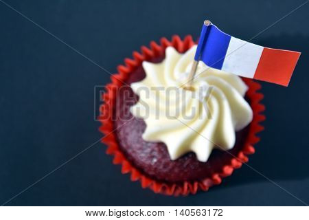 Happy Bastille Day cupcake with red white and blue french flag. Vive La France.