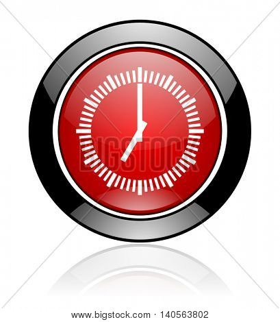 Modern design red and black round glossy clock vector icon