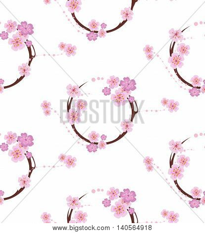 The pattern in the form of a circle formed by the branches of sakura flowers. The pattern in the Japanese style on a white background.