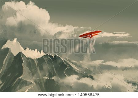 red biplane flying over mountain, illustration digital painting