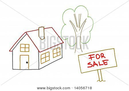 Hand Drawing House For Sale