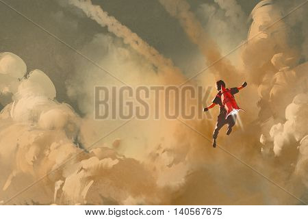 boy flying in the cloudy sky with jet pack rocket, illustration painting
