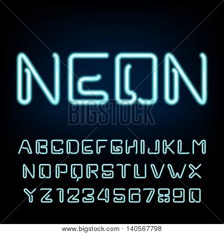 Neon tube alphabet font. Futuristic type letters and numbers on a dark background. Vector typeface for labels, titles, posters etc.