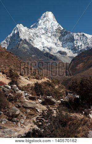 Ama Dablam from trekking route to Everest Pangboche Solukhumbu Nepal.