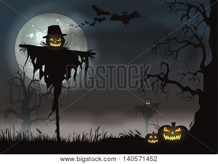 Vector Halloween scene with a scarecrow, bats, pumpkins and creepy tree.