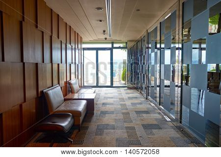 KUALA LUMPUR, MALAYSIA - CIRCA MAY, 2016: inside of a lounge at The GTower building.  The building contains offices, a hotel and club facilities.