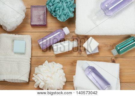 Toiletry Set. Soap Bar And Liquid. Shampoo, Shower Gel Body Milk, Towel. Spa Kit. Top View